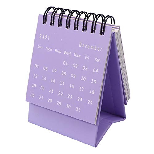 TOYANDONA July. 2020 to Dec. 2021 Desk Calendar Mini Desktop Standing Flip Monthly Calendar for School Home Office Schedule Planner (Purple)