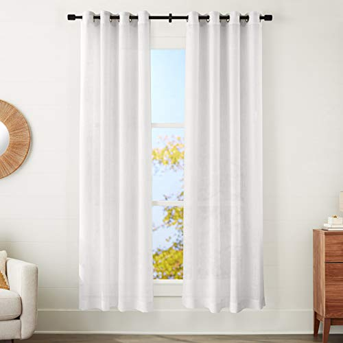 "Amazon Basics Sheer Window Panel Pair with Grommets - 50"" x 95"", Classic White"