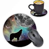 LOWORO 円形マウスパッド コースター付き 月の下の狼のデザイン マウスパッド ノンスリップゴムマウスパッド オフィスアクセサリー デスク装飾マウスパッド コンピュータ/ノートパソコン用