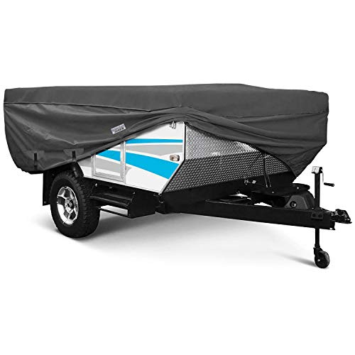 North East Harbor Waterproof Durable Folding Camping Travel Trailer Storage Cover Fits Length 10'-12' 300D Polyester Fabric Pop-Up Tent Trailers Cover - 156 L x 88 W x 42 H