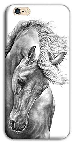 Mixroom - Cover Custodia Back Case in TPU Silicone Morbido per Apple iPhone 6 6s Fantasia Cavallo Bianco E Nero M597