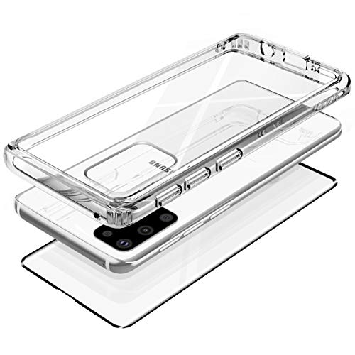 """VVUPic for Galaxy S20 Plus Case Clear Full Body Case Transparent Rugged Hybrid Front Real Tempered Glass kit Support Fingerprint Unlock Sensor Position Glass Screen 2020 6.7"""""""