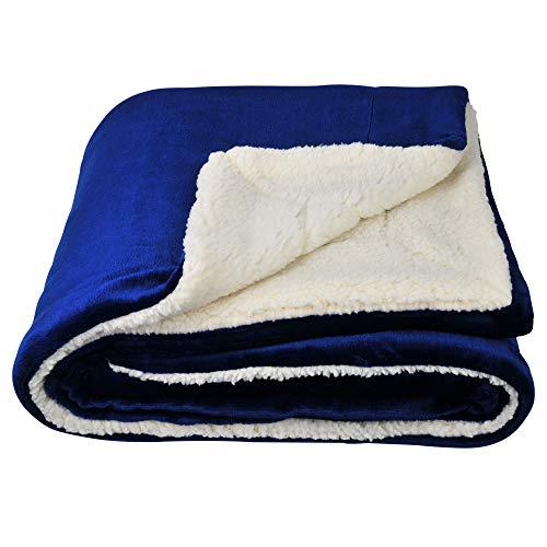 SOCHOW Sherpa Decke Blau zweiseitige Wohndecken Kuscheldecken, extra Dicke warm Sofadecke/Couchdecke aus Sherpa, 150 x 200 cm super flausch Fleecedecke als Sofaüberwurf oder Wohnzimmerdecke