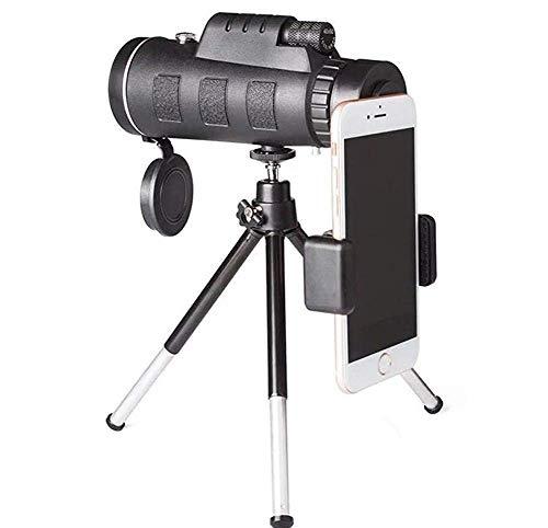 ZHCJH 10X42 8X42 HD Binoculares Telescopio Viaje al Aire Libre Telescopio portátil con cámara para teléfono móvil, Negro, 8X, 40X60