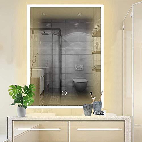 HFFFHA Espejo de baño Iluminado por LED montado en la Pared con Interruptor de Sensor Color de luz Ajustable para Maquillaje Afeitado cosmético 500 x 700 mm