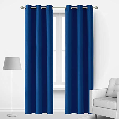 Deconovo Blackout Curtains Royal Blue Thermal Insulated Room Darkening Heat Cold Noise Reducing Window Panels for Kids Adults Master Bedroom Living Room Baby Nursery , 2 Panels, 42x84 in, Royal Blue