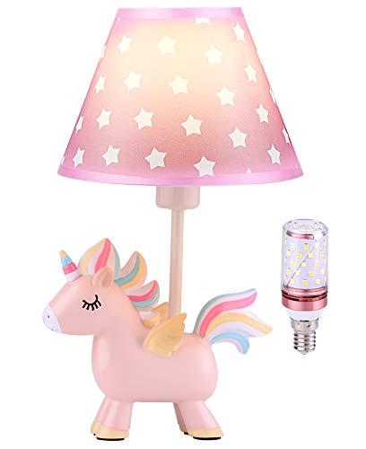 Lámpara de unicornio, lámpara de mesita de noche para niños con LED Bulbo y pantalla, regalos de unicornio para decoración de dormitorio de niñas, lámpara de luz de guardería(EU-Plug)