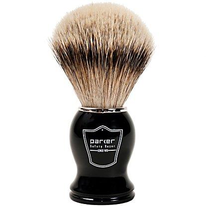 Parker Safety Razor 100% Silvertip Badger Bristle Shaving Brush (Black Handle) - Brush Stand Included