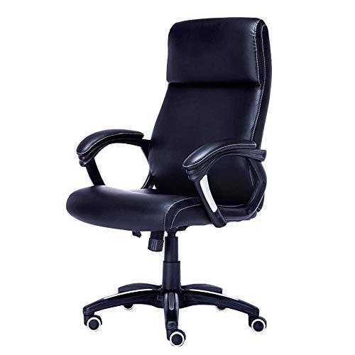 WSDSX Stuhl Home Office Schreibtischstuhl Arc Handlauf 15 cm Dicke Rückenlehne 52 cm tiefes Kissen Hautfreundlich rutschfest Lagergewicht 250 kg schwarz