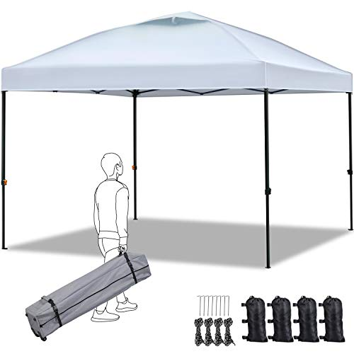 YAHEETECH Pop up Canopy Tent 10x10,Commercial Instant Shelter,Portable Outdoor Sun Shade Canopy Adjustable Height with Wheeled Bag,Sandbags x4,Stakesx8,Ropesx4 for Wedding/Camping/Party/Beach,White