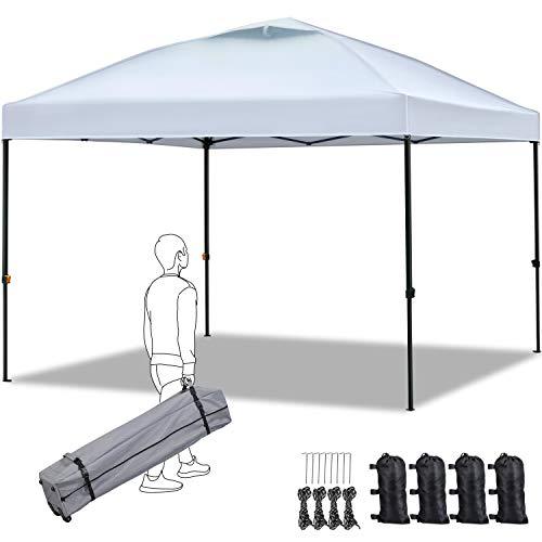 Yaheetech Carpa Plegable 3x3 Impermeable Cenador de Camping con Bolsa Ajustable Altura(257-277cm) para Camping Playa Terraza Boda Fiestas Plata
