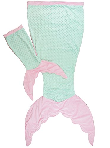 PoshPeanut Mermaid Blanket Softest Minky Comfy Cozy Blankie for Kids Ages 3-13 with FREE Toy Doll Blanket Included (Aqua / Pink)