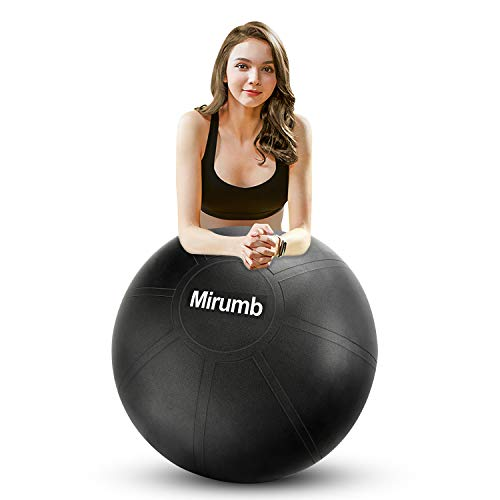 Mirumb Pelota de Ejercicio, Massage Balls Pelota de Pilates Yoga Ball 75CM 65CM 55CM con Bomba Anti Explosión para Fitness, Embarazo,Oficina,Silla de Equilibrio,Gimnasio