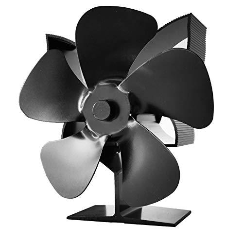 Ventilador de chimenea de 5 aspas para estufa de leña, mejora silenciosa, funciona con calor y circula el ventilador de estufa ecológica de aire caliente para estufas de gas, pellets, madera/leña