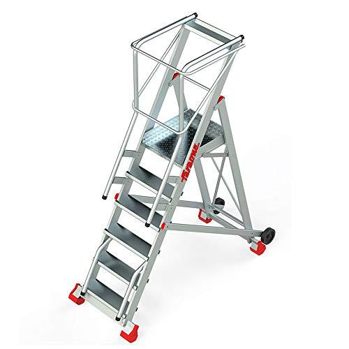 Faraone - Escalera Plegable - Escalera 6 Peldaños - 310x80x82cm - Escalera Almacén 150/SMT - Con plataforma y ruedas - Fabricada en Aluminio - Uso Profesional -Con Barandillas de Seguridad