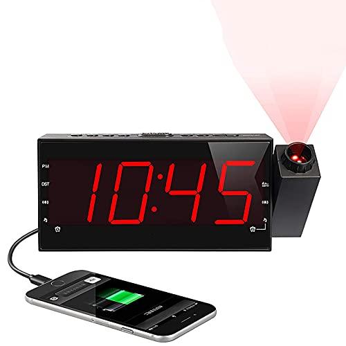 FENGCLOCK Reloj Despertador Proyector Proyector/Proyector Techo, Radio FM Reloj Junto A La Cama LED Reloj De Silencio Electrónico Alarma Doble Cargador USB,Rojo