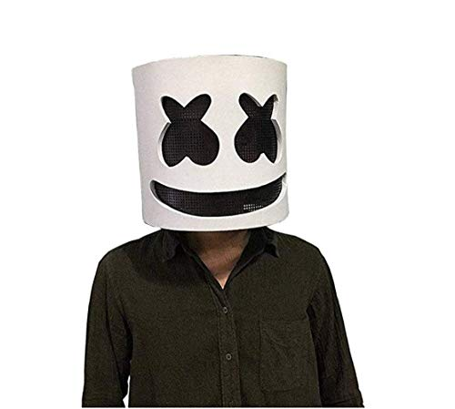 Latex Marshmallow DJ Maske Halloween Party Nachtclub Weiße Maske Erwachsene Cosplay Kostüm Helm für Party Kostüm Spiele (2)