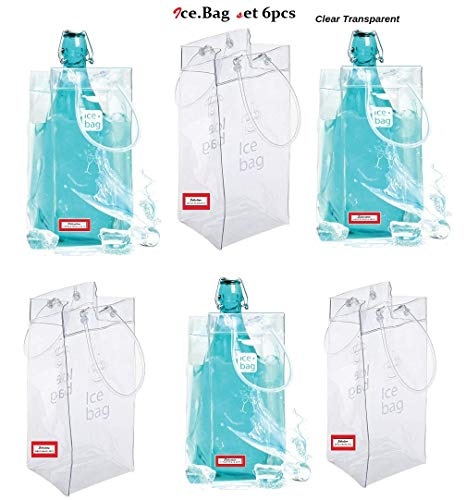 EMI Craft Ice Bag Ice.Bag Basic Transparente,Bolsa de Hielo para Vino y champán con Mango para restaurantes, Picnic y casa, etc. Set 6 PCS