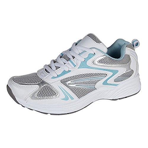 Dek - Zapatillas deportiva con cordones modelo Sunset para mujer (37 EU/Blanco/Azul)
