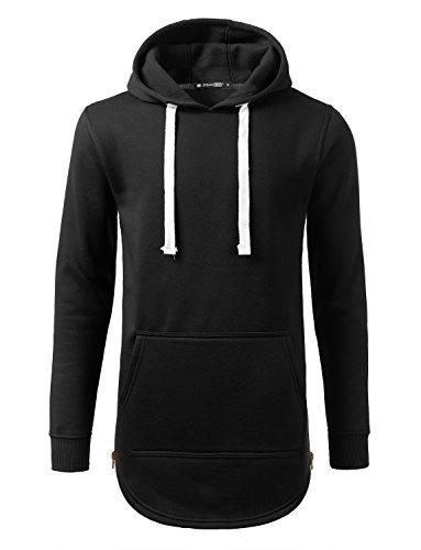 URBANCREWS Mens Hipster Hip Hop Pullover Fleece Hoodie Sweatshirt Black 3XLARGE