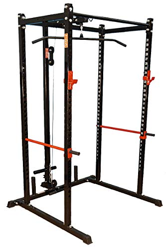 TDS Power Rack, Squat Cage (Black) with LAT/Row Attachment...