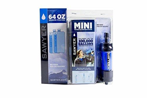 Sawyer Mini PointONE Wasserfilter Outdoor Wasseraufbereiter Trinkwasser Sparset mit 2 x 2L Trinkbeutel (2 x 2L.)