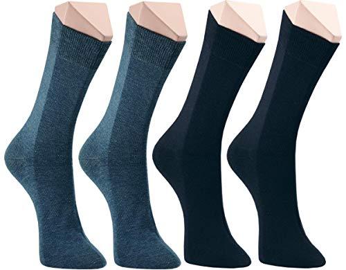 world wide sox | Socken & Strümpfe für Herren | Baumwolle elastisch ohne Gummidruck | 4 Paar | jeans, marine, dunkel jeans, schwarz | 43-46