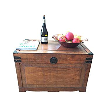 Styled Shopping Newport Large Wood Storage Trunk Wooden Treasure Chest - Brown