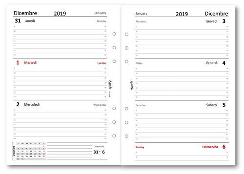 Ricambio agenda 2019 settimanale bianco (14,5x21) ricambio agenda organizer