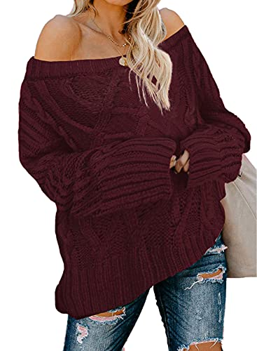 Astylish Winter Lightweight Plain Off The Shoulder Ladies Loose Sweaters Pullovers Medium Size 8 10 Wine