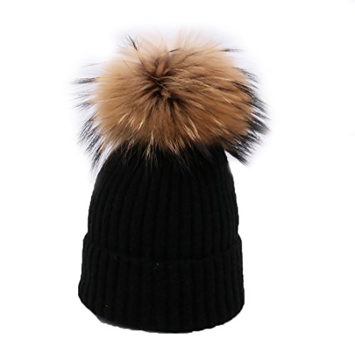 BeFur Femme Bonnet Tricot à Pompon Fourrure Fille Chapeau Bonnet Jersey Tendance Hiver noir