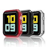 Hianjoo [3-Pack] Cover con Vetro Temperato Compatibile per Apple Watch 38mm, Custodia Pellicola Proteggi Schermo Compatibile on Apple iWatch 38mm Series 3/2/1 - Nero, Argento, Ross
