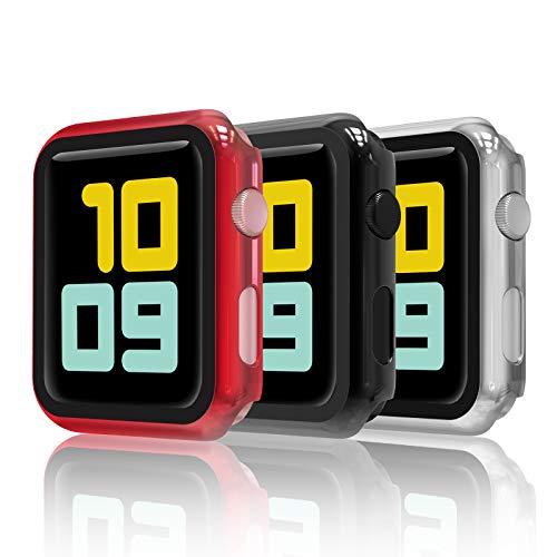 Hianjoo 3 Piezas Funda con Protector de Pantalla Templado Compatible con Apple Watch 38mm, Enchapado PC Cubierta Compatible con iWatch Series 3 2, Protección Completa, Antiarañazos,Negro,Plata,Rojo