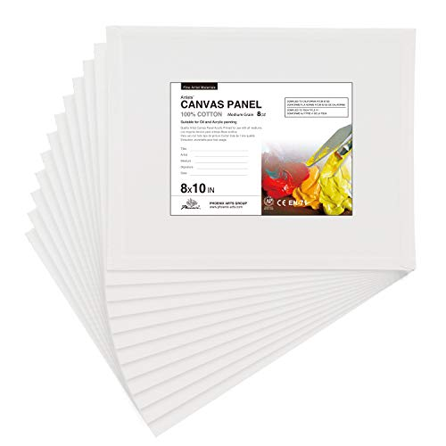 PHOENIX Artist Painting Canvas Panels - 8x10 Inch / 12 Pack - Triple Primed Cotton Canvas Boards for...