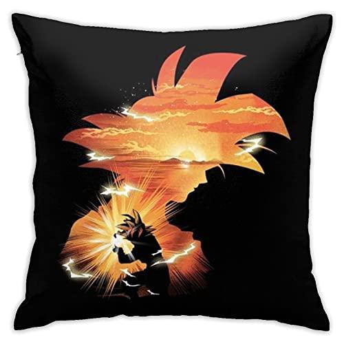 Dragon Ball Z Goku Sunset Funda de almohada decorativa para salón, dormitorio, sofá, silla, 45 x 45 cm