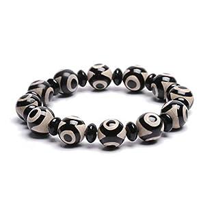 ZenBless Natürliche, schwarzweiße tibetische Dzi Perlen (12 mm) Armband Fengshui Amulett Armreif zieht positive Energie und Glück an.