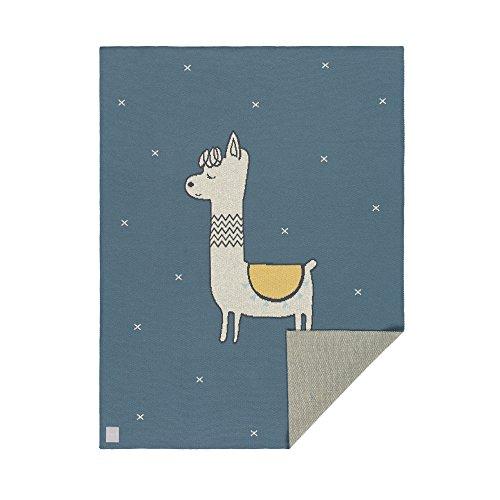 LÄSSIG Baby Krabbeldecke Strickdecke Spieldecke Schmusedecke Kuscheldecke GOTS zertifiziert weich/Baby Blanket Glama Lama