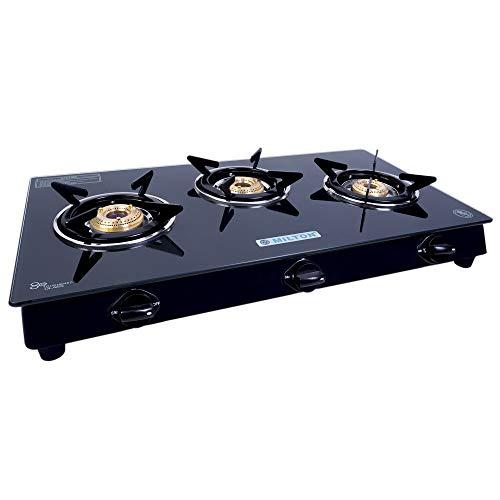 Milton Premium 3 Burner Glass Top (Black) Manual LPG Stove with MS Frame & Brass Burners (ISI Certified)