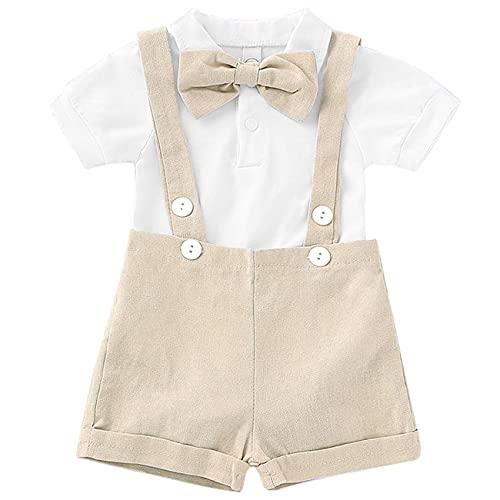 Baby Boy Clothes Gentleman Bowtie Romper and Overalls Suspenders Pants Wedding Tuxedo Outfits(Beige,0-6m)