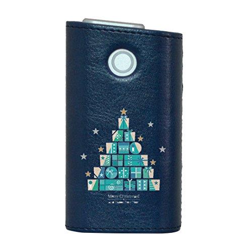 glo グロー グロウ 専用 レザーケース レザーカバー タバコ ケース カバー 合皮 ハードケース カバー 収納 デザイン 革 皮 BLUE ブルー クリスマス プレゼント ツリー 013826
