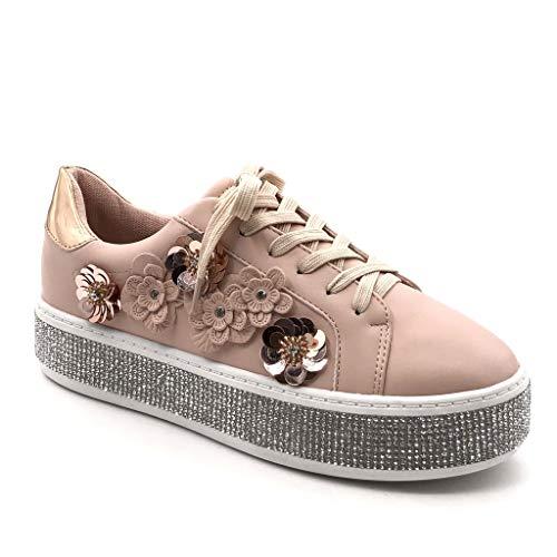 Angkorly - Damen Schuhe Sneaker - Tennis - Plateauschuhe - Strass - Blumen - Glänzende Flache Ferse 4 cm - Rosa GQ17 T 37