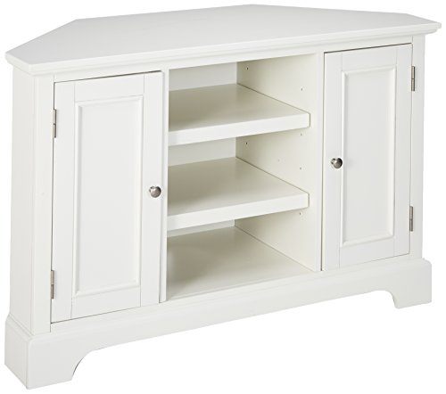 Home Styles Naples Antique White Corner Entertainment Credenza with Open Storage, Adjustable Shelves, Two Cabinets