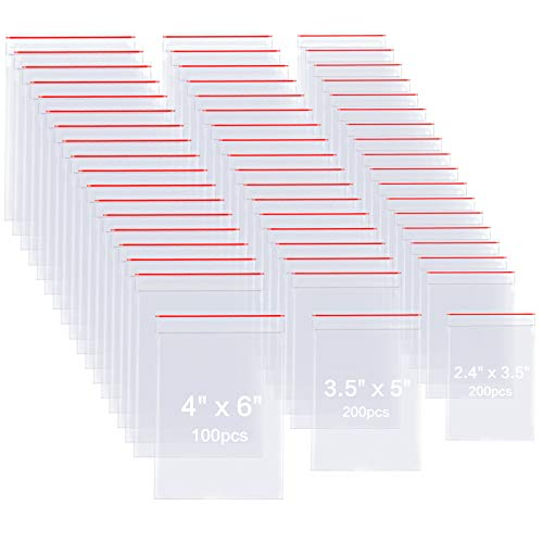 500 Pack 2 Mils Plastic Poly Zipper Bags, 3 Assorted Sizes (2.4 x 3.5, 3.5 x 5, 4 x6 inch), Resealable Clear Durable Zipper Crafts Storage Bags for Jewelry, Bead, Toy Piece, Pill, Crafts Making