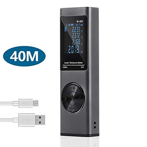 Misuratore Laser 40m,Cshare Telemetro Laser con Sensore Angolo Elettronico,USB Carica Rapida, LCD Retroilluminazione,20 Memoria Dati, Funzione Muto, Superficie,Volume e Misurazione Continua (Grigio)
