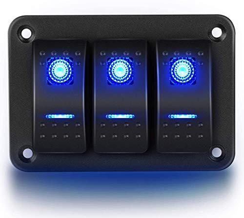 Gebildet 3-Gang Aluminium Panel Toggle Dash LED-Licht, 5-polig EIN/Aus Vorverdrahteter Wippschalterhalter für Auto-Marineboot