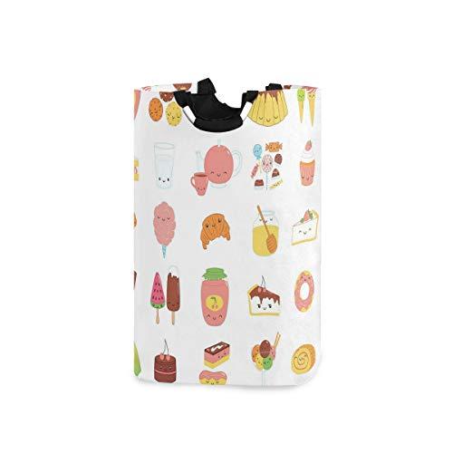 LOSNINA Wäschesammler Wäschekorb Faltbarer Aufbewahrungskorb,Dessert-Konzept Skizzen Eis Donut Kuchen Honig Cupcake Schokolade Alles süß,Wäschesack - Wäschekörbe - Laundry Baskets