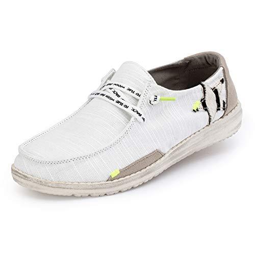 Hey Dude Wendy Vogue - Zapatos casuales para mujer, estilo mocasín, comodidad ligera, plantilla ergonómica de espuma viscoelástica, diseñada en Italia y California, color Blanco, talla 36 EU