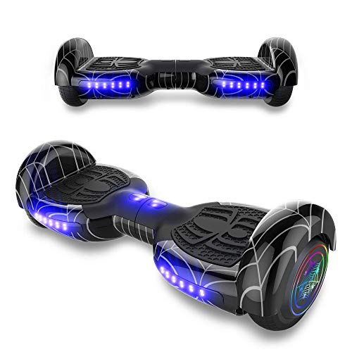 TPS Power Sports Hoverboard Self Balancing Scooter for Adults and Kids 300W Dual Motor 6.5 Wheels Bluetooth Speaker LED Lights Self Balance Hoverboards Great Gift UL2272 Certified (Black)