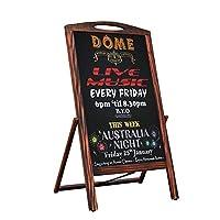 レトロクラシック看板 木製 スタンド 屋外 黒板ボード棚付き カフェ 飲食店 サロン 立て看板 ポータブル 手書きチョーク マーカー蛍光ペン (A)