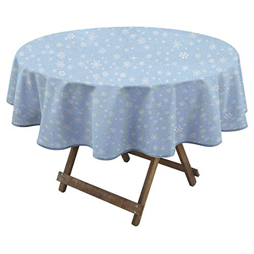 Zara Henry Winter Round Tablecloth Cute Little Snowflakes Falling from The Sky December New Year`s Eve Blizzard Icons Design Pattern D 60' Blue White